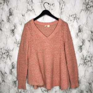 Anthro Moth Chunky Knit Zipped Pullover Peach M